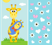 Mothers day background with giraffe Stock Photography
