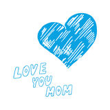 Mothers day background. With Love You Mom words and abstract heart, design element Royalty Free Stock Images