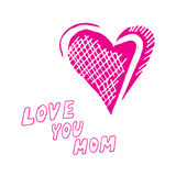Mothers day background. With Love You Mom words and abstract heart, design element Stock Photos
