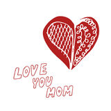 Mothers day background. With Love You Mom words and abstract heart, design element Stock Photography