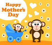 Mothers day background with monkey Royalty Free Stock Photos