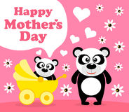 Mothers day background with panda Stock Photography