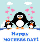 Mothers day background with penguins Royalty Free Stock Image