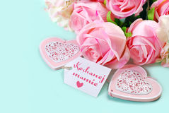 Mothers day background with polish text in pastel colors Stock Images