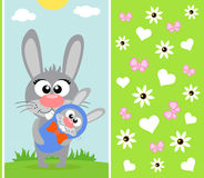 Mothers day background with rabbit Stock Photography