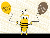 Mothers day balloons with cute honey bee Royalty Free Stock Images