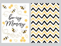 Mothers day set design set text Mommy to bee decorated bee, zig zag ornament card poster logo. Mothers day banner design set with text Mommy to bee with cute vector illustration