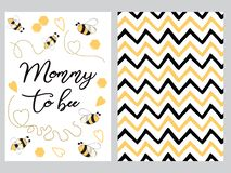 Mothers day banner design set text Mommy to bee decorated bee, zig zag ornament card poster logo. Mothers day banner design set with text Mommy to bee with cute vector illustration