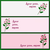 Mothers Day banners. Happy Mothers Day. Vector festive holiday illustration with lettering and roses. Happy mother day design banners template graphic or website Stock Image
