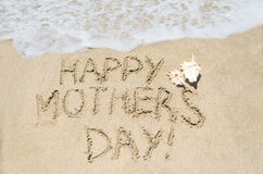 Mothers day on the beach background. Mother's day background on the sandy beach near ocean Stock Image