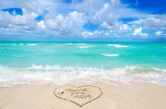 Mothers day on the beach background Royalty Free Stock Image