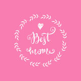 Mothers Day poster. Best mom. Floral frame in vector and heart. Can be used as mothers day card or poster.Vector illustration stock illustration