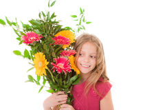 Mothers day or birthday gift. Happy child with mothers day or birthday gift Royalty Free Stock Photo