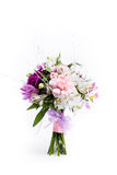 Mother's Day bouquet from pink and purple gillyflowers Royalty Free Stock Photography