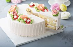 Mothers day cake with flowers. Mothers day cake with frosting flowers decoration stock photos