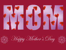Mothers day card. With red hearts stock illustration