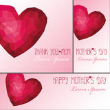 Mothers day card,banner set.Polygons pink hearts Stock Photography