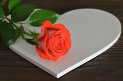 Mothers Day card with blank heart and rose Stock Photos