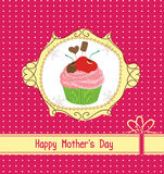 Mothers day card with cupcake Stock Images