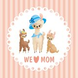 Mothers day card with cute llamas. Llama family. Mother's Day greeting card with cute animals and their cubs. Colorful vector illustration in cartoon style Stock Images