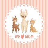 Mothers day card with cute llamas. Llama family. Mother's Day greeting card with cute animals and their cubs. Colorful vector illustration in cartoon style Stock Image