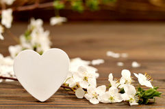 Mothers Day card: Decorative heart and spring flowers Stock Image