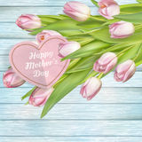 Mothers day card. EPS 10. Mothers day card with tulips on wooden board. EPS 10 vector file included Royalty Free Stock Photo