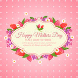 Mothers day. Card with flower wreath Royalty Free Stock Photo