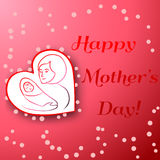 Mothers Day Card. Happy Mothers Day. Vector festive holiday illustration with lettering and red heart. Happy mother day background. Hand drown illustration Royalty Free Stock Photography