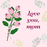 Mothers Day Card. Happy Mothers Day. Vector festive holiday illustration with lettering and roses.  Happy mother day background Stock Photo