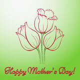 Mothers Day Card. Happy Mothers Day. Vector festive holiday illustration with lettering and tulips. Happy mother day background. Hand drown illustration Royalty Free Stock Photos