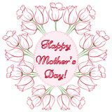 Mothers Day Card. Happy Mothers Day. Vector festive holiday illustration with lettering and tulips. Happy mother day background. Hand drown illustration Royalty Free Stock Photo