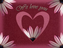 Mothers day card with heart and flower Royalty Free Stock Photo