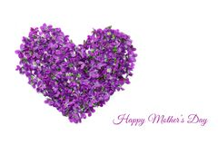 Mothers day card. Heart shape flowers. Violets love symbol isolated on white background. Template for greeting card, web stock image