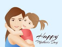 Mothers Day card with mother holding child. Happy Mothers Day card with mother holding child, daughter hugging mom, cartoon vector illustration royalty free illustration