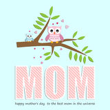 Mothers Day card, with owl for boy. Royalty Free Stock Image