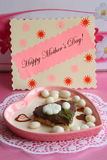 Mothers Day Card - Pink Heart Gift - Stock Photo Stock Image