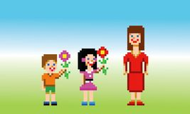 Mothers day card pixel art style vector. Illustration royalty free illustration