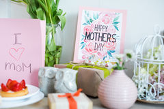 Mothers Day card and presents Royalty Free Stock Photos