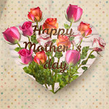 Mothers day card with roses. EPS 10 Royalty Free Stock Photography