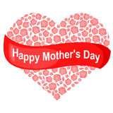 Mothers day card with roses heart and greeting red ribbon Stock Photos