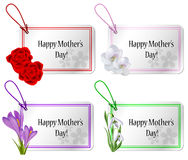 Mothers day card set with flowers Stock Photography