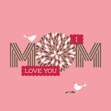 Mothers day card with two cute birds and I love you mom text Stock Photo