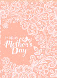 Mothers day card with a white lace. Stock Photography