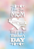 mothers day card, white text on blurred background Stock Photos