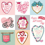 Mothers day cards set.Frames, decor elements Stock Photo
