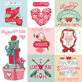 Mothers day cards set.Labels, hearts,decor Stock Photos