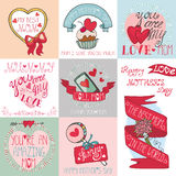 Mothers day cards set.Ribbons, hearts,decor. Mothers day,love,romantic cards collection.Labels,badges,emblems and ribbon,hearts lettering,arrows and headline vector illustration