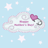 Mothers day cloud. A embroidered cloud with a happy mothers day message and a heart baby clip Royalty Free Stock Image