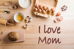 Mothers day composition. Baking ingredients and kitchen utensils Royalty Free Stock Photography